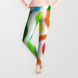 Blue Green Yellow Orange Red Wavy Lines Leggings