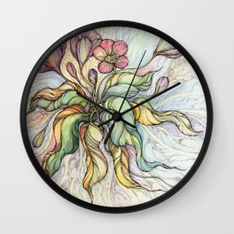 Bridal Bouquet.Hand drawn watercolor and ink drawing Wall Clock