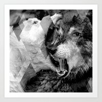 wolves Art Prints featuring Wolves by Ricca Design Co.