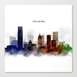 Oklahoma Watercolor Skyline Canvas Print
