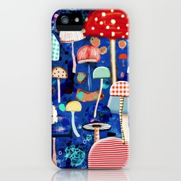 Blue Mushrooms - Zu hause Marine blue Abstract Art iPhone Case