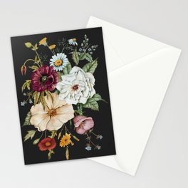 Colorful Wildflower Bouquet on Charcoal Black Stationery Cards