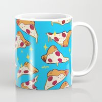 pizza Mugs featuring pizza by Erin Lowe