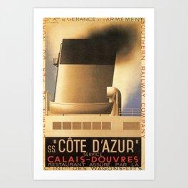 ancienne affiche Calais Douvres Art Print