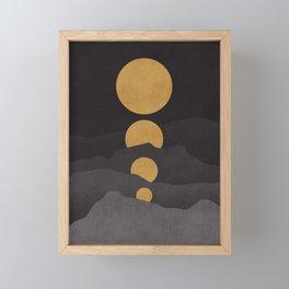 Rise of the golden moon Framed Mini Art Print