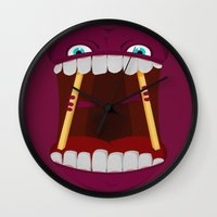 mouth Wall Clocks featuring Mouth by Alex Tim