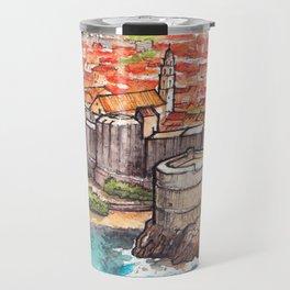 Dubrovnik Croatia ink & watercolor illustration Travel Mug