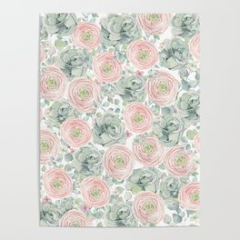 Flowers And Succulents White  #buyart #decor #society6 Poster
