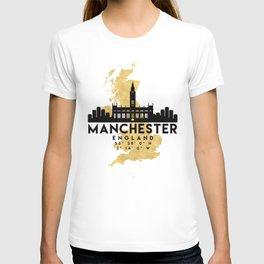 MANCHESTER ENGLAND SILHOUETTE SKYLINE MAP ART T-shirt