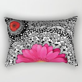 Pink Flower Black White Doodle Art Collage Rectangular Pillow