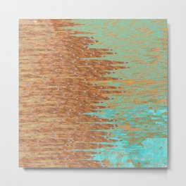 Jagged Turquoise and Copper Design Metal Print