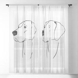Weimaraner (Black and White) Sheer Curtain