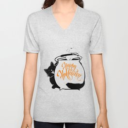 A funny Cat Behind Cauldron, Happy Halloween Lettering Holiday Calligraphy, Halloween Celebration, Halloween Event, Halloween Party 2021 Unisex V-Neck