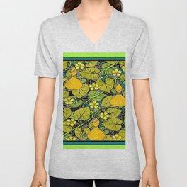 Green Art Nouveau Vines Gourds Floral Teal Art Unisex V-Neck