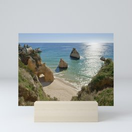 cliff formations at Alvor, Portugal Mini Art Print