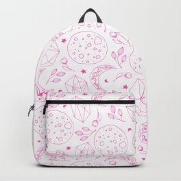 Geometrical abstract pink stars moon floral pattern Backpack