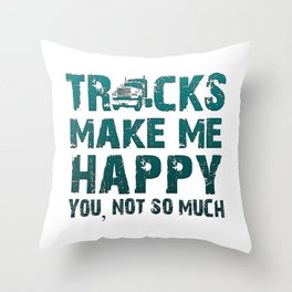 Trucks make me happy Throw Pillow