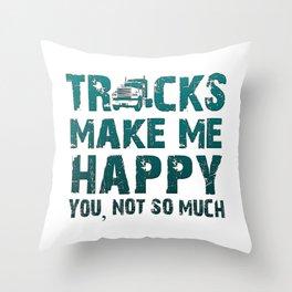 Trucks make me happy Throw Pillow