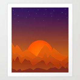 Slumbering Hills, Southwestern Landscape Art Art Print