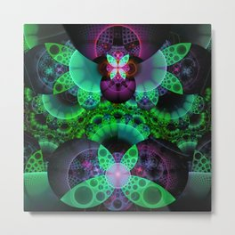 Emerald and Purple Spotted Swallowtail Butterflies Metal Print