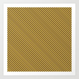 Spicy Mustard and Black Stripe Art Print