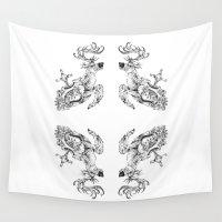 clockwork Wall Tapestries featuring clockwork deer by vasodelirium