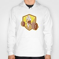 crossfit Hoodies featuring Crossfit Athlete Runner Barbell Shield Retro by patrimonio