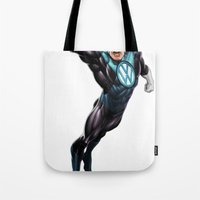 super hero Tote Bags featuring VW Super Hero by Vin Zzep