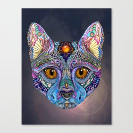 Mystic Psychedelic Cat Canvas Print