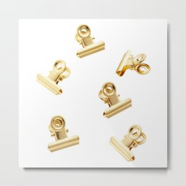 Golden Clips Metal Print