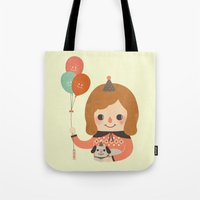 ballon Tote Bags featuring Hold The Happy Ballon by Minifanfan