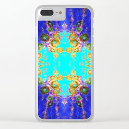 BLUE GARDEN GOLD-PINK  FLOWERS Clear iPhone Case