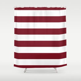 Deep Red Pear and White Wide Horizontal Cabana Tent Stripe Shower Curtain