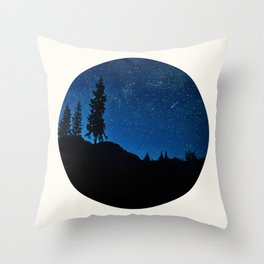 Mid Century Modern Round Circle Photo Blue Star Night Sky Pine Tree Silhouette Throw Pillow