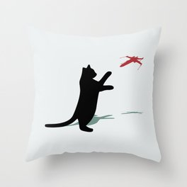 Cat and X-Wing Throw Pillow