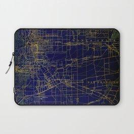 Pasadena antique map year 1896, blue and green artwork Laptop Sleeve