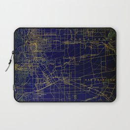 Pasadena antique map year 1896, blue and green artwork Laptop Sleeve
