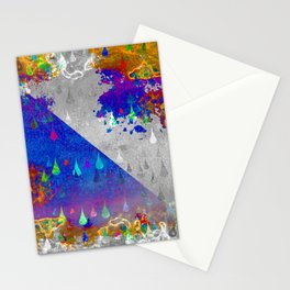 Abstract Colorful Rain Drops Design Stationery Cards
