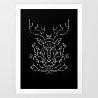 reindeer Art Prints featuring Reindeer by Marco Recuero