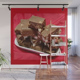 Cherry Chocolate Marshmallow Fudge On A Plate Wall Mural