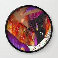 "flora bowley Wall Clocks featuring ""Reflect You"" Original Painting by Flora Bowley by Flora Bowley"