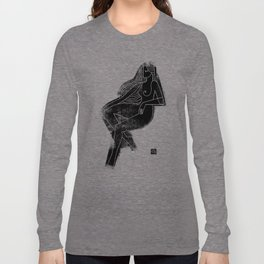 Seated Figure Black Long Sleeve T-shirt