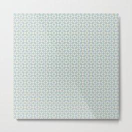 Yellow & Blue Geometric Greek Key Pattern Metal Print