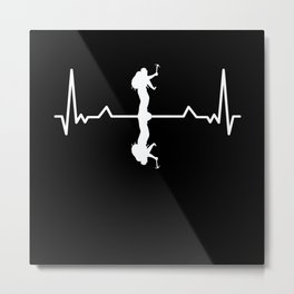 Mountaineer Hiking Heartbeat Hiker Gift Metal Print