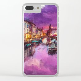 Twilight On Venice Canal Clear iPhone Case
