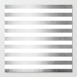 Simply Striped Moonlight Silver Canvas Print