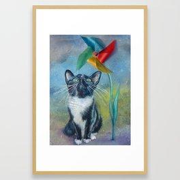 Pinwheel Kitty Framed Art Print