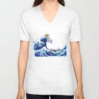 calvin hobbes V-neck T-shirts featuring Surfs up Calvin! by Ancora Imparo