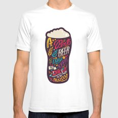 A pint of beer a day. Keeps the doctor away. Mens Fitted Tee White MEDIUM