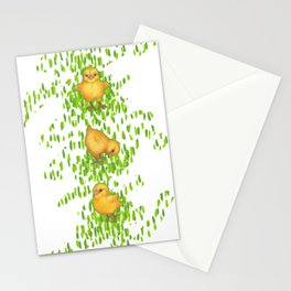 Chickens - spring yellow green Stationery Cards